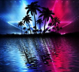 Photo sur Aluminium Pain Abstract modern futuristic dark landscape with tropical palm trees, neon lights, rays. Reflection in the water, night view, abstract tropical background. 3d illustration