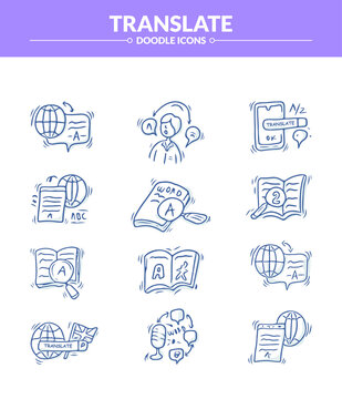 Translate Doodle Icon set, Trendy sketching - hand drawn doodle concept