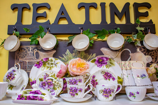 Tea Time Dishes and Cups with Decorations at a Tea Party