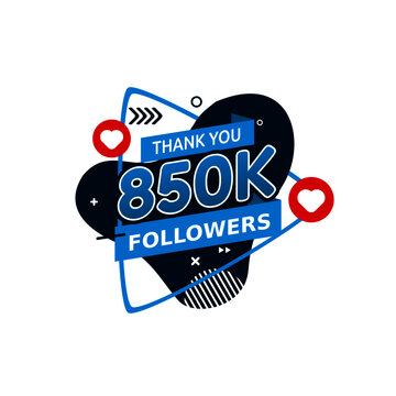 vector graphic of Thank you stickers for 850k followers good for say thank to followers. flat design. Instagram. twitter.flat illustration.
