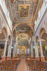 FERRARA, ITALY - JANUARY 30, 2020: The nave of the church Chiesa di Santa Maria in Vado.