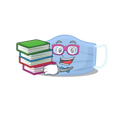 Wall Mural - A diligent student in surgical mask mascot design concept read many books