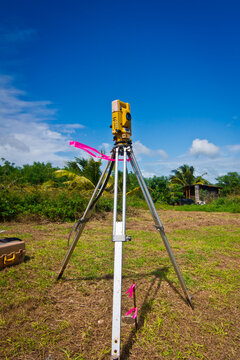 Surveying equipment installed under the blue sky