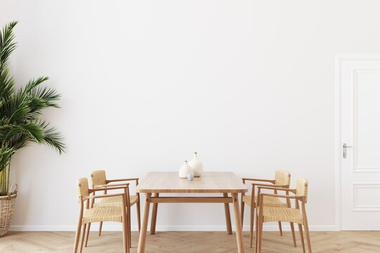 Dining room wall mock up with Areca palm, rattan dining set, wooden table on wooden floor. 3d illustration.