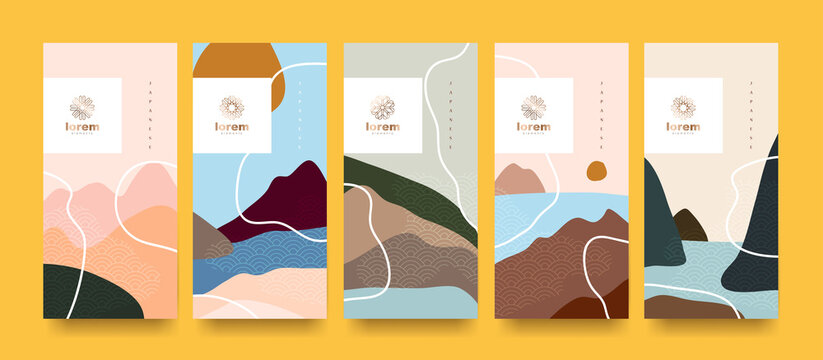 vector set packaging landscape abstract arts background templates.Line pattern in Asian style with Japanese pattern.