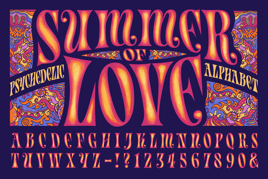 A Psychedelic Alphabet Design; This Font is in the Style of 1960s Hippie Graphics and Artwork