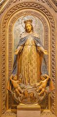 BARCELONA, SPAIN - MARCH 3, 2020: The carved polychrome statue of Immaculate Conception in the church Iglesia Santa Maria de Gracia de Jesus.