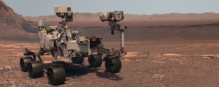 Mars. The Perseverance rover deploys its equipment against the backdrop of a true Martian landscape. Exploring Mission To Mars. Colony on Mars. Elements of this video furnished by NASA. 3d rendering.