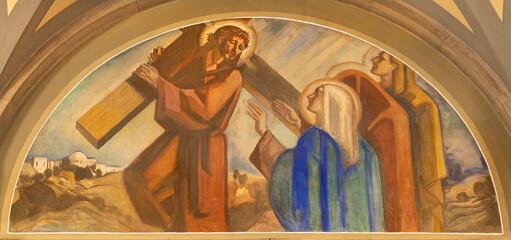 BARCELONA, SPAIN - MARCH 3, 2020: The fresco Jesus meet his mother Mary in the church Santuario Nuestra Senora del Sagrado Corazon by Francesc Labarta (1960).