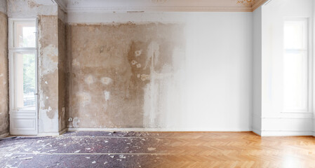 room before and after flat renovation -