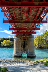 Underneath The Red Bridge on Highway 8A where it crosses the Upper Clutha River, South Island, New Zealand