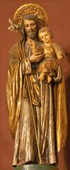 BARCELONA, SPAIN - MARCH 3, 2020: The carved polychrome statue of St. Joseph in the church Nuestra Senora del Sagrado Corazon from 19. cent.
