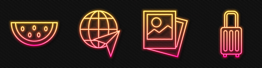 Set line Photo, Watermelon, Globe with flying plane and Suitcase. Glowing neon icon. Vector.