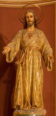 BARCELONA, SPAIN - MARCH 3, 2020: The carved polychrome statue of Heart Jesus in the church Nuestra Senora del Sagrado Corazon from 19. cent.