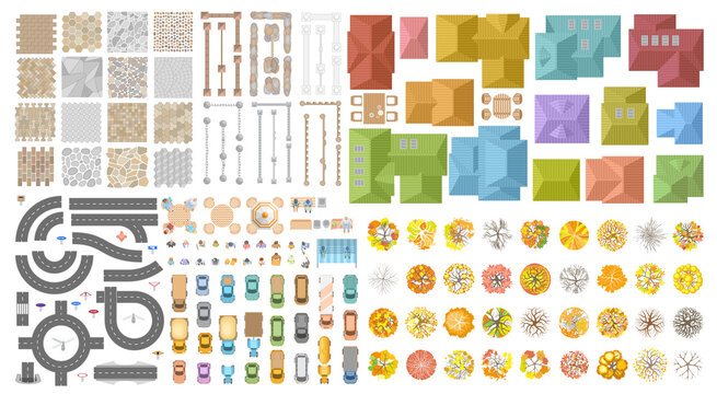 Vector set. Autumn city landscape. Top view. Sidewalk, fence, houses, road, cars, people, trees. View from above.