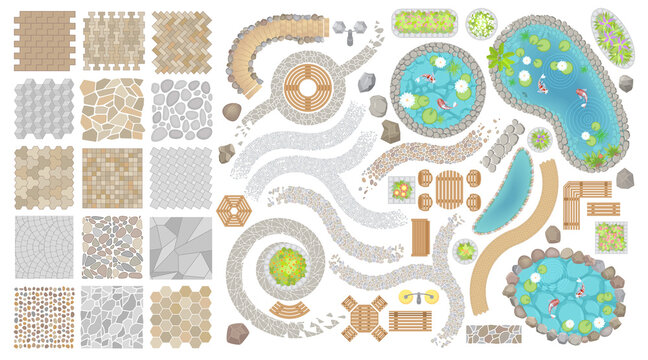 Set of vector street pavements and elements of the park. (Top view) Collection for landscape design, plan, maps. (View from above) Flowerbed, paths, furniture, ponds, stones.
