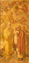BARCELONA, SPAIN - MARCH 3, 2020: The painting of Presentation of Jesus in the Temple in the church Santuario Nuestra Senora del Sagrado Corazon by Francesc Labarta (1960).