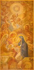 BARCELONA, SPAIN - MARCH 3, 2020: The painting of Nativity in the church Santuario Nuestra Senora del Sagrado Corazon by Francesc Labarta (1960).