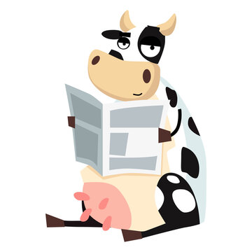 Picture of a cow reading a newspaper on a white background. Vector illustration.