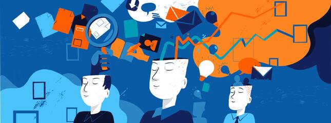 Teste umane che generano idee. Flusso di processi mentali delle persone