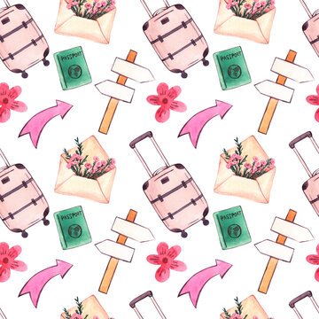 Seamless watercolor pattern on the theme of travel
