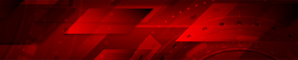 Dark red abstract technology geometric web header design. Vector background