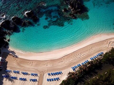 The drone aerial view of east whale bay beach, bermuda island.