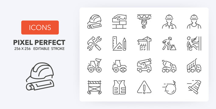 construction line icons 256 x 256