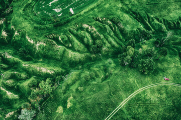 Green fields from above