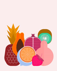 Foto op Canvas Abstractie Art Mix of ripe tropical fruits isolated on a light background, vector illustration. Strawberry, pineapple, pear, kiwi, pomegranate, citrus, papaya.