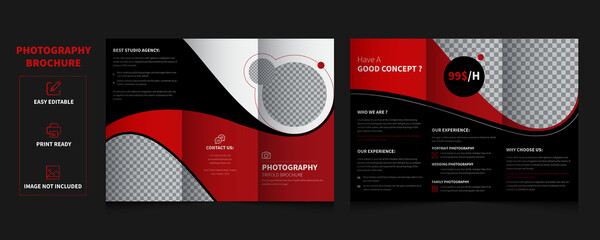 Design Photography Portfolio trifold, vector template brochures, flyers, presentations, leaflet, magazine a4 size. Black and Red geometric elements trifold brochure - vector