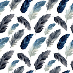 Foto op Plexiglas Kunstmatig watercolor feather seamless pattern. feather pattern for background, wallpaper, fabric, fashion etc.