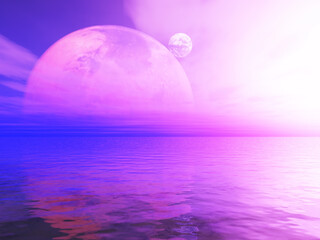 Printed kitchen splashbacks Purple 3D abstract surreal landscape with planets against ocean