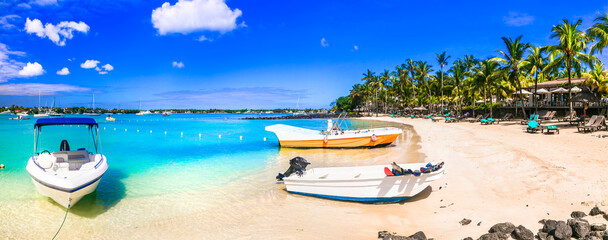 Tropical holidays - popular resort and beach of Grand Bay in Mauritius island