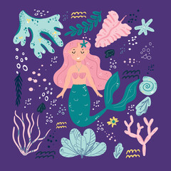 Cute mermaids and sea plants. Funny cartoon characters and corals are isolated on white. Summer clipart with mermaid girls.