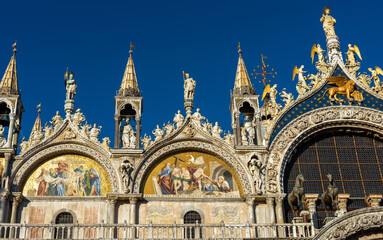 Fototapete - San Marco or St Mark`s Basilica closeup, Venice, Italy. It is top landmark in Venice. Beautiful cathedral exterior, detail of ornate facade
