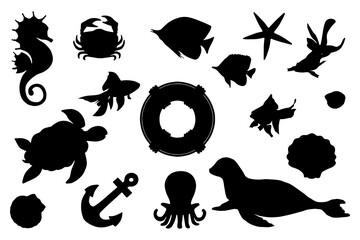Sea, marine silhouettes silhouettes. Clip art set on white background