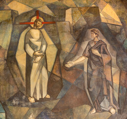 BARCELONA, SPAIN - MARCH 5, 2020: The modern fresco of Jesus befor Pilate in church Santuario Maria Auxiliadora i Sant Josep by Fidel Trias Pages and Raimon Roca (1966).
