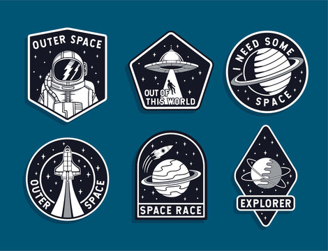 Set of space badges, patches, emblems, badges and labels.
