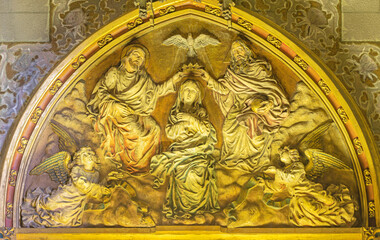 BARCELONA, SPAIN - MARCH 5, 2020: The relief of Coronation of Virgin Mary in the church Església de la Concepció from 19. cent.