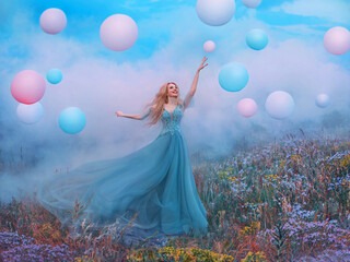 happy young beautiful blonde woman raised hand. Fantasy princess jumping touches pink ball air...