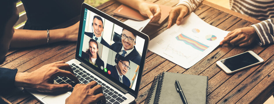 Video call group business people meeting on virtual workplace or remote office. Telework conference call using smart video technology to communicate colleague in professional corporate business.