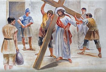 BARCELONA, SPAIN - MARCH 5, 2020: The modern frescoJesus accepts his cross in the atrium of church Església de la Concepció from 19. cent.