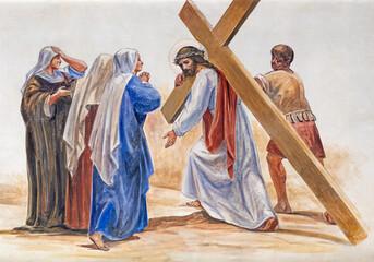 BARCELONA, SPAIN - MARCH 5, 2020: The fresco Jesus meet his mother Mary in the atrium of church Església de la Concepció from 19. cent.