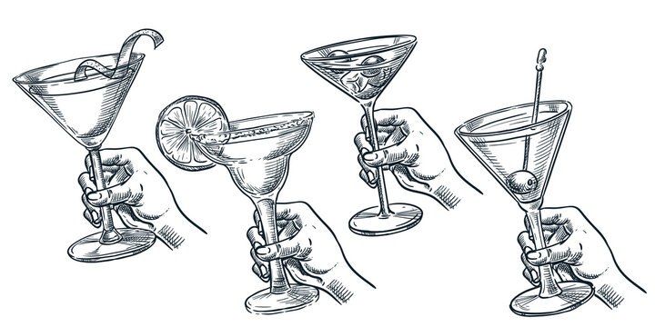 Human holding glass with alcohol cocktail. Vector hand drawn sketch illustration. Bar drinks menu design elements
