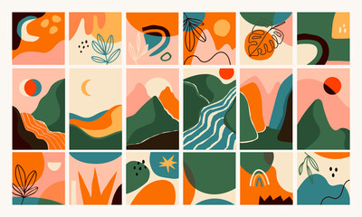 Big Set of Abstract backgrounds. Hand drawn doodle various shapes, leaves, mountains, river, spots, drops. Contemporary modern trendy Vector illustrations. Every background is isolated
