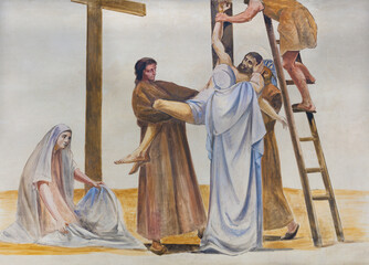BARCELONA, SPAIN - MARCH 5, 2020: The modern fresco of Deposition of the cross in the atrium of church Església de la Concepció from 19. cent.