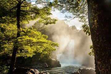 Huilo Huilo waterfall in southern Chile Fotomurales