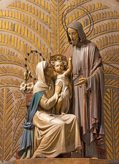 BARCELONA, SPAIN - MARCH 3, 2020: The Holy Family carved sculptural group in the chruch Parroquia Santa Teresa de l'Infant Jesus from 20. cent.