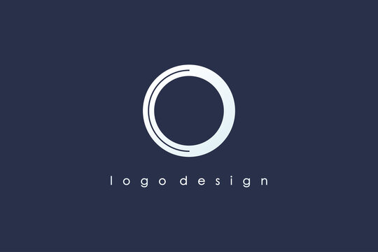 Abstract Initial Letter O Logo. White Shape Circle Line Style isolated on Blue Background. Usable for Business and Branding Logos. Flat Vector Logo Design Template Element.